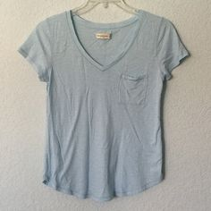 Blue A&F Tee A plain blue, v neck shirt from Abercrombie.  ✓ NO Trades / Merc / PP / etc. ✓ Offers welcome ✓ Bundle discounts available ✓ Top 10% seller ✓ Most orders shipped within two days - never longer than five days Abercrombie & Fitch Tops Tees - Short Sleeve