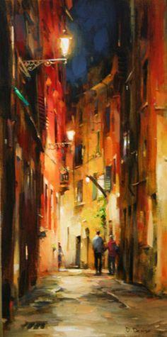 "Dmitri Danish Original Oil ""Evening in Carrara"" - Featured Artist Old Paintings, Paintings I Love, Watercolor Landscape, Landscape Paintings, Boat Art, Surrealism Painting, City Landscape, Art Graphique, City Art"