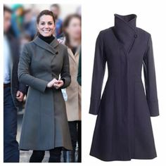 Reiss Angel Fawn Wool Coat This style is one of Kate Middleton's favorite coats! It is beautifully tailored and very versatile. You can wear the collar in different ways, style it different each time you wear it. Color is Slate Grey, knee length coat, top stitched lapels, front side pockets, multiple gores, hidden front fastening, front hidden button closure,lined. Material: wool, polyamide. Mint condition. Measurements upon request. All reasonable offers are welcome! Please make all offers…