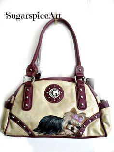 Yorkie Hand Painted Shoulder bag Handbag Dog Art by SugarspiceArt