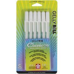 Sakura 6 WHITE Gelly Roll Classic Medium Point Pens Set 57488
