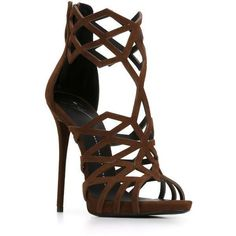 Giuseppe Zanotti Design 'Raquel' laser cut sandals ($1,140) ❤ liked on Polyvore featuring shoes, sandals, heels, heeled sandals, open toe sandals, open toe shoes, high heel stilettos and stiletto heel sandals #brownsandalsheels