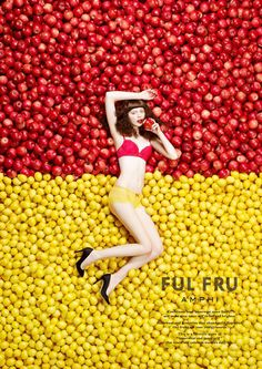 The use of the yellow and the red that corresponds with the girl bathing suit help intrigue the readers to the cover Web Design, Layout Design, Design Art, Print Design, Poster Design, Graphic Design Posters, Graphic Design Inspiration, Creative Advertising, Advertising Design