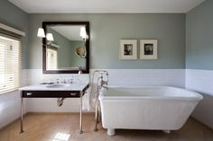 Nice colour, simple basin, I definitely want painted walls, colour up top, white under the rim.