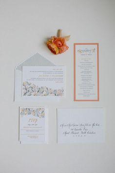 Wedding #stationery suite | Photography: Shannon Michele Photography - shannonmichelephotography.com/  Read More: http://www.stylemepretty.com/2014/04/23/pink-peach-backyard-charleston-wedding/