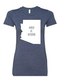 Made In Arizona Women's Premium Crewneck 6004 T-Shirt Humorous Tee Shirt Heather Navy Medium, Blue