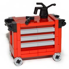 LEGO Custom Accessory: Red Tool Chest [minifigure,house,set,lot,town,city] #LEGO