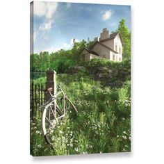 ArtWall Cynthia Decker House On The Hill Gallery-Wrapped Canvas, Size: 32 x 48, White