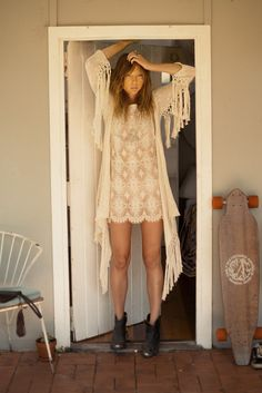 Pretty bohemian chic threads for fall by Spell & the Gypsy Collective. 'Lola' lace mini dress & 'Lola' tassel knit. Great ankle boots also!