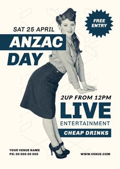 Create an event flyer or poster for Anzac Day or Australia Day without the need for a graphic designer. Check out the huge range of professionally pre-designed posters, flyers and social media graphics that you can update yourself, in minutes. Anzac Day, Australia Day, Social Media Graphics, Lineup, Diy Design, Promotion, Entertaining, Templates, Poster