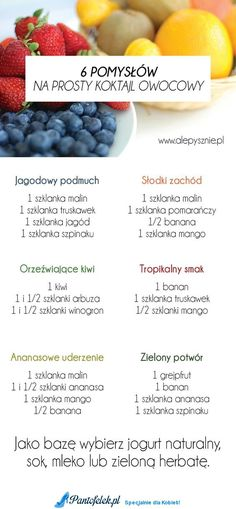 6 pomysłów na owocowe koktajle. Idealne na ciepłe dni! Helathy Food, Smoothie Recipes, Smoothies, Healthy Cocktails, Good Food, Yummy Food, Dessert, Diy Food, Clean Eating Snacks