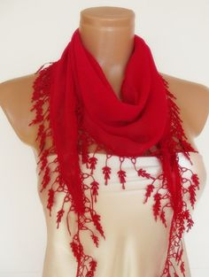 free shipping valentines day Special Design Red scarf by smilingpoet on Etsy, $17.90