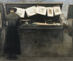 """Bernard Boutet de Monvel At the """"Bouquiniste's""""  This painting, executed in 1943, shows a priest looking for a book at a """"bouquiniste's"""" on the quays in Paris. It is part of a series Bernard Boutet de Monvel painted on the Bouquinistes. See next lots."""