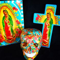 I love Guadalupe - made a series of 3 - Skullamour skull, cross and wall plaque www.skullamour.com