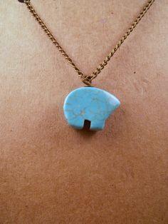 Antique Bronze Howlite Turquoise Zuni Bear Long Layer Boho Necklace by CarmenRVT on Etsy