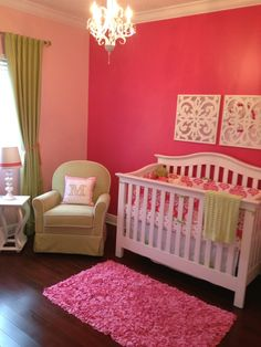 Baby Girl Nursery - Love the wall decor