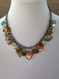 Boho Heart Charm Necklace Eclectic Heart by RirisCreativeHands