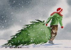 $16.00 Evergreen Tree watercolor painting...