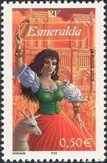 Literary Stamps: Esmeralda de El jorobado de Nuestra Señora. Hugo, Victor (1802- 1885)