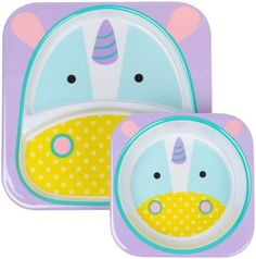 Skip Hop Zoo Melamine Plate and Bowl Set - Unicorn - Stocking for Lilly