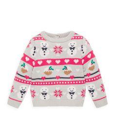 Childrens Christmas Jumper Tejer patrón Muñeco De Nieve Santa Motif Suéter DK