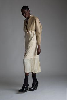 Vintage Alaia Leather Bolero, Norma Kamali Dress and Matsuda Pleated Skirt. Designer Clothing Dark Minimal Street Style Fashion