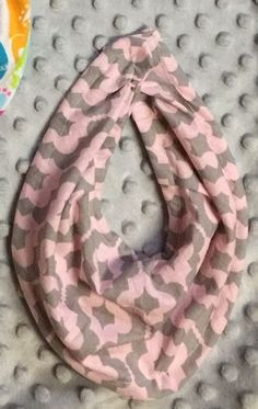 Pink and gray cotton baby infinity scarf bib. Size 3-12 months by SimplyKJ on Etsy https://www.etsy.com/listing/221801027/pink-and-gray-cotton-baby-infinity-scarf