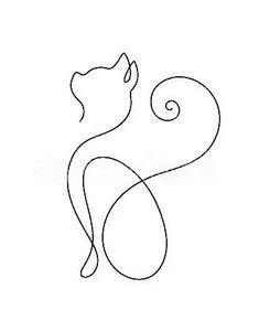 Custom Cat Portrait One Line Drawing Minimal Cat Line Art Pencil Art Drawings, Cool Art Drawings, Art Drawings Sketches, Easy Drawings, Tatoo Henna, Hp Tattoo, Tattoo Small, Tattoo Flash, Cat Tattoo Designs