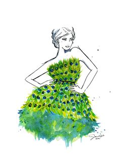 OH MY -> Peacock Couture, by JessicaIllustration  Who's says you have to marry in white?