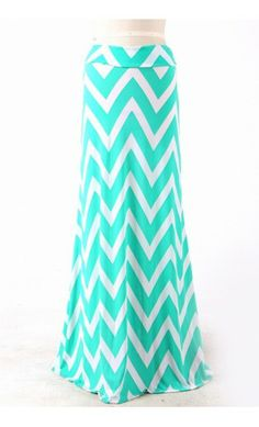 Modest Clothing - Womens Flared Maxi Skirts with Wide Chevron Print