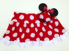 Minnie+Mouse+Inspired+Athletic+Skirt+and+Ears+by+RockCitySkirts,+$41.00