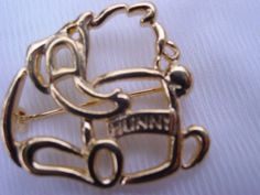Vintage Disney Winnie the Pooh Pin Brooch with Hunny Honey Signed Vintage Jewelry Jewellery. $8.00, via Etsy.