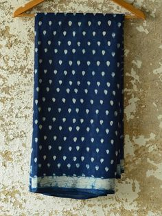 Indigo dabu printed ~ Cotton Saree