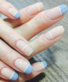 Simple Half Blue Cute Nail Art Designs