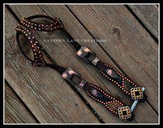 Custom headstall, black and metallic bronze, antique copper hardware