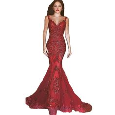UTA Shiny Beaded Long Mermaid Pageant Evening Prom Dress Wedding Formal Party Gown