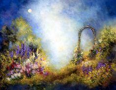 """Moongate"" Flower Garden Full Moon  ART PRINT by MarinaPetro $35.00  http://www.etsy.com/shop/MarinaPetroFineArt"