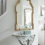 entrances/foyers - Para Paints - Eyelet - pale green walls marble top antique demilune console table gilt gold mirror  Pale green walls paint