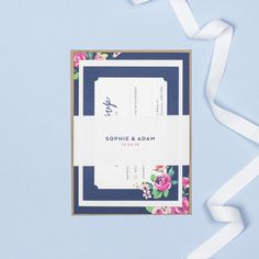Navy and pink invitation bundle belly bands by Project Pretty Pink Invitations, Invites, Floral Wedding Stationery, Design Suites, Belly Bands, Vintage Roses, Rsvp, Pretty, Frame