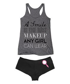 Look at this Athletic Heather 'A Smile Is The Best Makeup' Tank & Hipster on #zulily today!