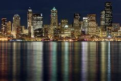 View Of Cityscape At Night by Stephen Kacirek - View Of Cityscape At Night Photograph - View Of Cityscape At Night Fine Art Prints and Posters for Sale