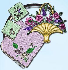 1950s Aunt Martha Floral Motifs Uncut Hot Iron Transfrer Original 3224 #AuntMarthas #Pillowcases