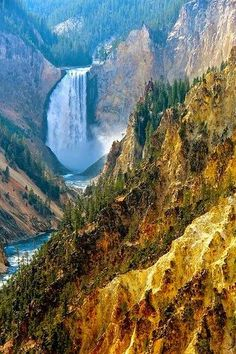Yellowstone Lower Falls, Geyser - Yellowstone National Park, Wyoming, United States.