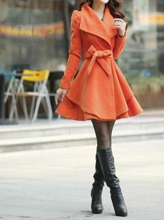 Orange Long Coat Winter Coat Woman coat Long by FGEmbelishments