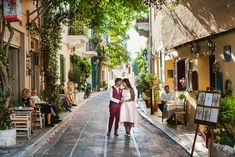 A Honeymoon Photoshoot in Athens, in some of our favourite places in the old region underneath Acropolis. This will make you dream of the Greek islands! Greece Honeymoon, Couples Walking, Greece Wedding, Athens Greece, Beautiful Couple, Greek, Street View, Photoshoot, City