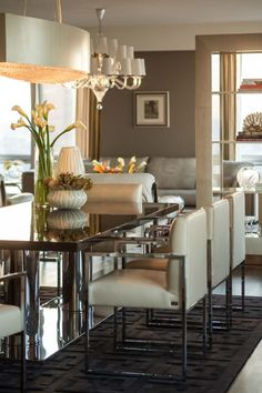 FENDI Casa has transformed the Setai Residence North Penthouse Floor) into a sleek, modern, and sophisticated show home (the first of its kind in NYC, . Room Interior Design, Dining Room Design, Luxury Interior, Dining Rooms, Dinning Table, Dining Set, H Design, House Design, Design Ideas