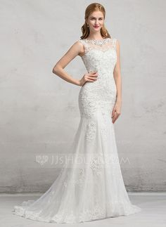 [US$ 237.49] Trumpet/Mermaid Scoop Neck Sweep Train Tulle Lace Wedding Dress With Beading Sequins (002083689)
