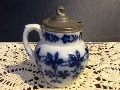 ANTIQUE FLOW BLUE MUSTARD JAR WITH METAL COVER...Unknown Maker...