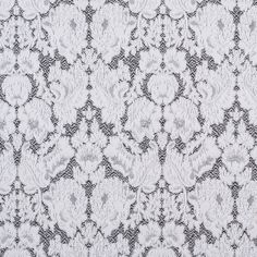 Black/White Floral Stretch Cotton-Polyester Brocade Fabric by the Yard | Mood Fabrics