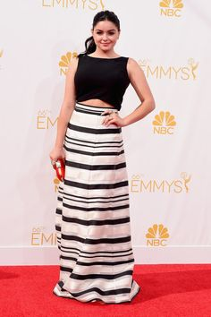 Emmys 2014 Red Carpet Dresses   POPSUGAR Style & Trends Ariel Winter bared her midriff in her Black Halo Eve striped maxi skirt and drop top combo that she accessorized with Vita Fede jewelry and Ferragamo sandals.